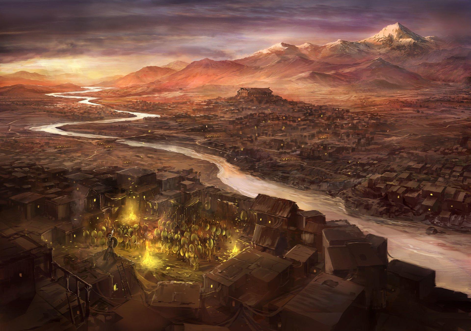 Fantasy - City  Sparta Greece Painting Fantasy History Warrior Wallpaper