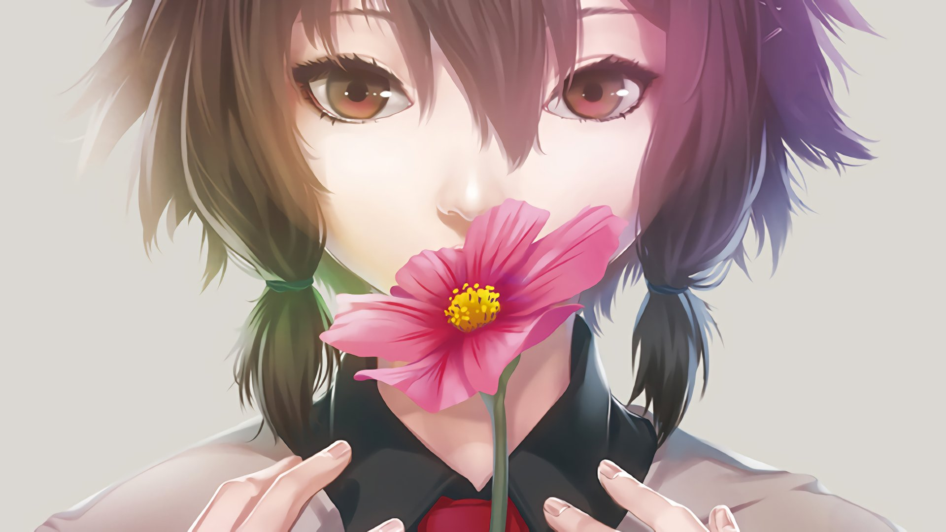 Anime - Original  Girl Flower Anime Brown Hair Brown Eyes Wallpaper