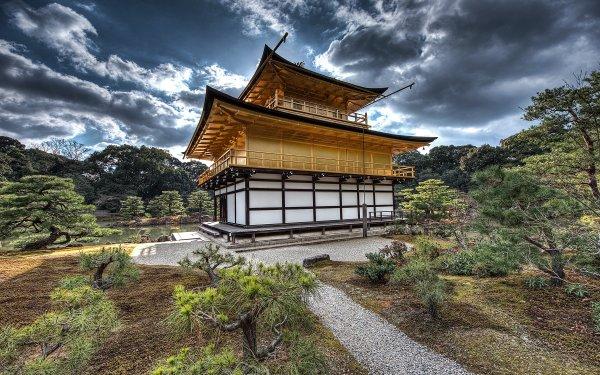 Religious Kinkaku-ji Temples Temple Zen Kyoto Japan Cloud Golden Temple HD Wallpaper | Background Image