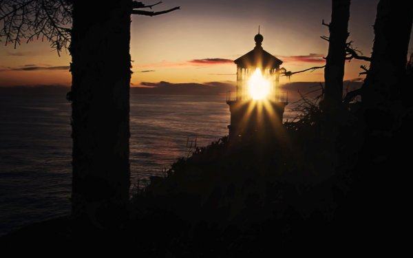 Man Made Lighthouse Buildings Sunset Ocean Pacific Tree Sky HD Wallpaper | Background Image