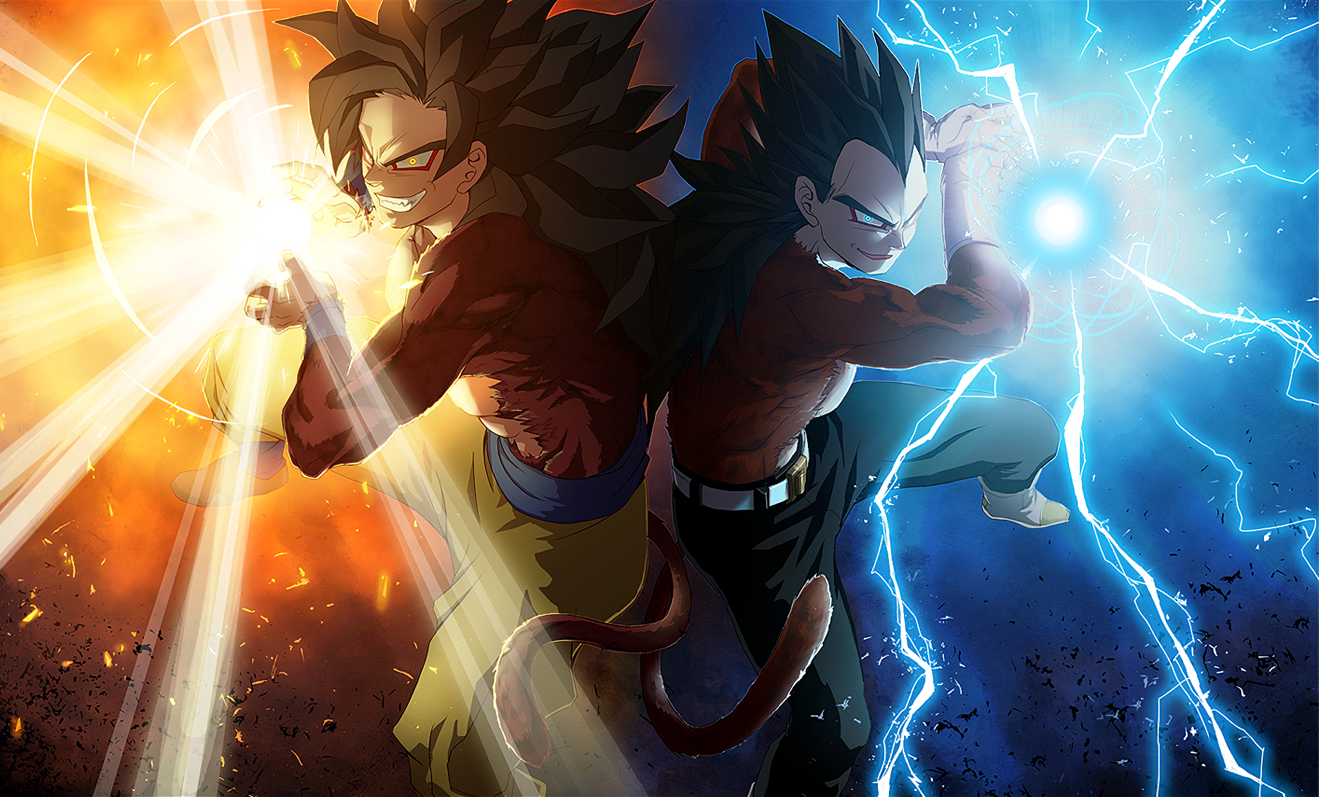 Goku and vegeta ssj4 full hd fond d 39 cran and arri re plan for Fond ecran dbz