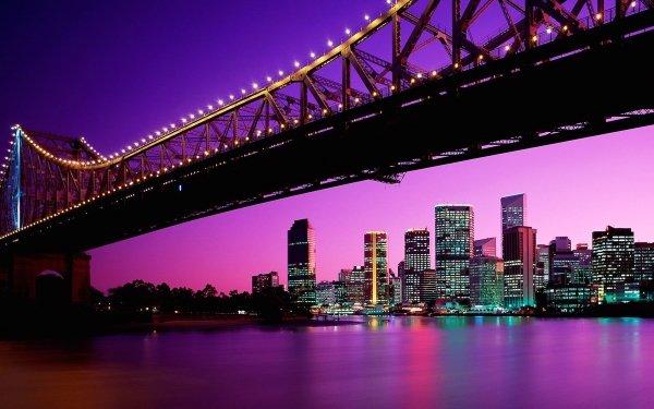 Man Made Brisbane Cities Australia City Night Light Bridge Building Skyscraper Story Bridge HD Wallpaper | Background Image