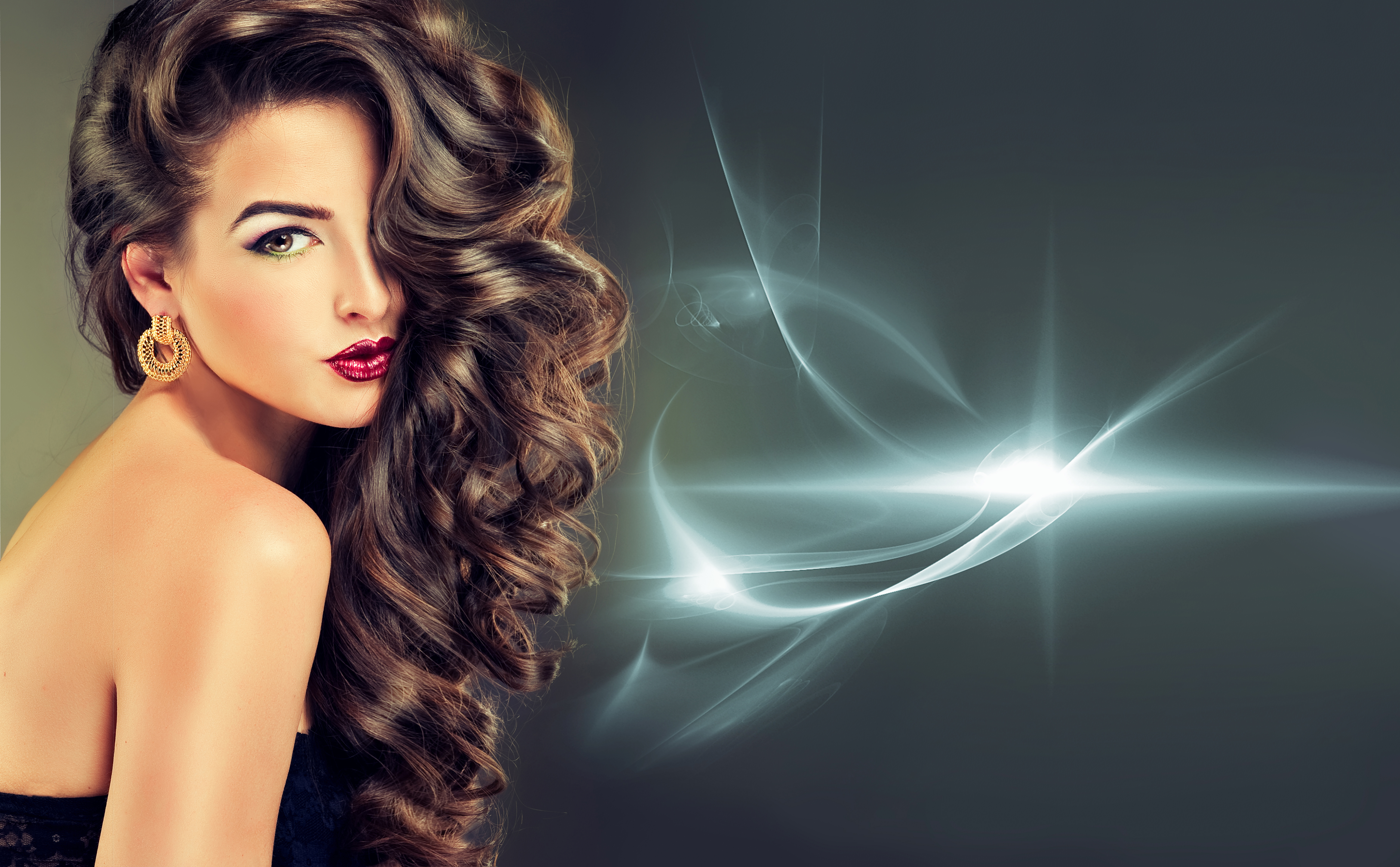 Beautiful Model Brunette With Long Curled Hair 5k Retina Ultra HD