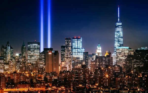 Man Made New York Cities United States City Skyscraper Light Night Building HD Wallpaper | Background Image