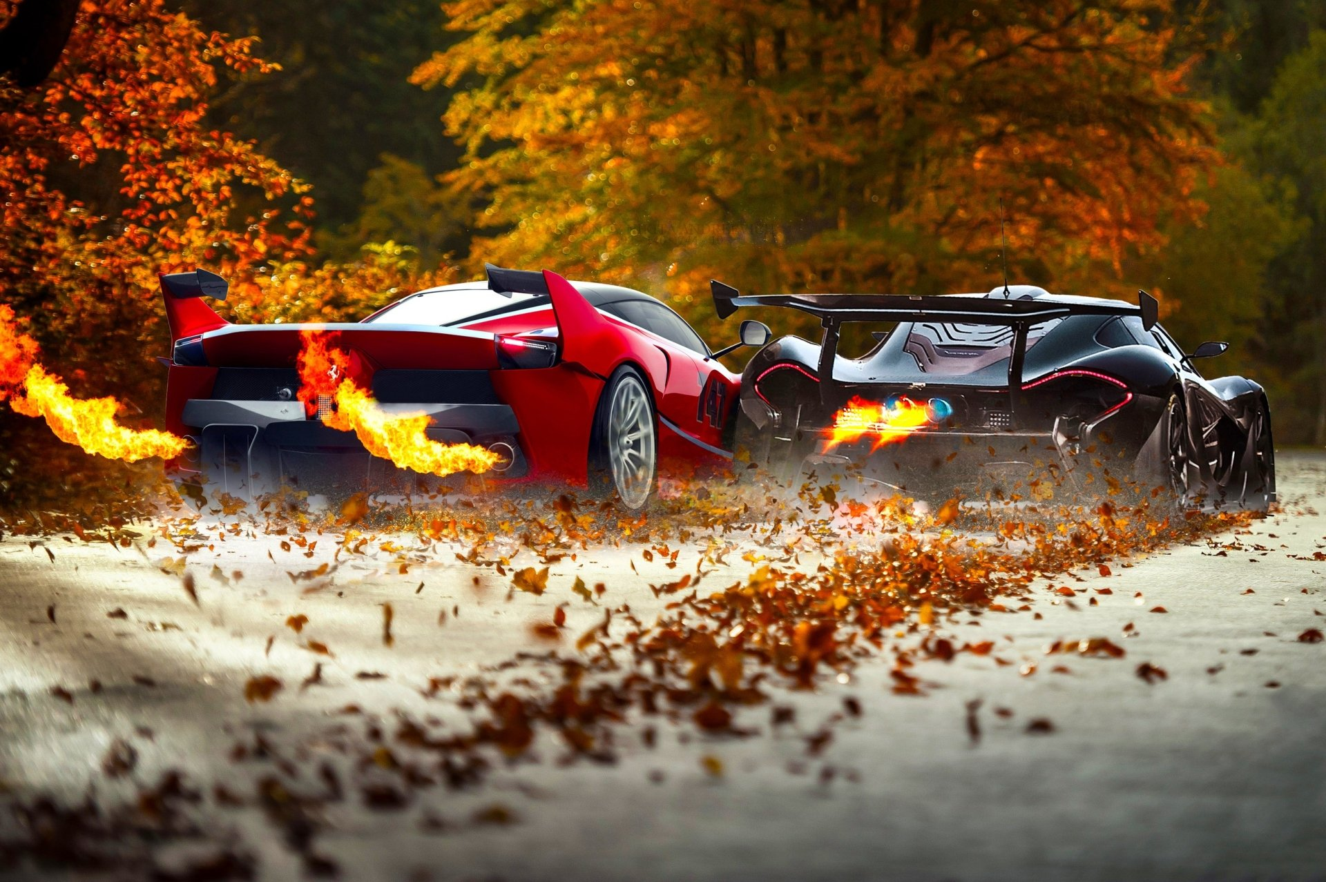 Vehicles - Car  Ferrari FXX Ferrari McLaren McLaren P1 Supercar Black Car Red Car Vehicle Wallpaper