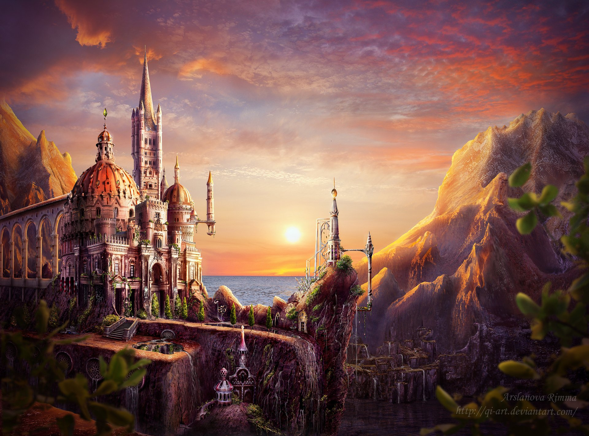 Sunset castle hd wallpaper background image 1920x1421 for Sun castle