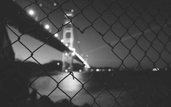 Man Made Golden Gate Bridges Night Fence California USA Black & White Bridge HD Wallpaper | Background Image
