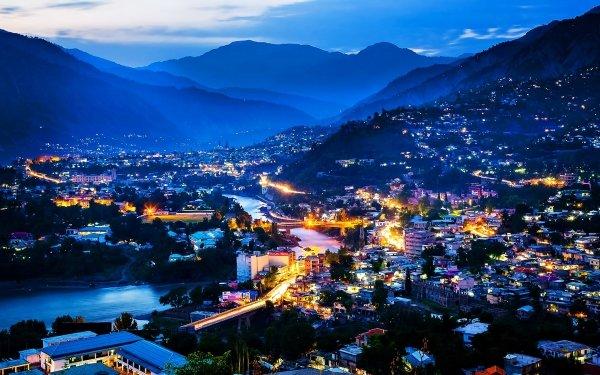 Man Made Kashmi Night City Light Building Landscape Mountain River Pakistan HD Wallpaper | Background Image