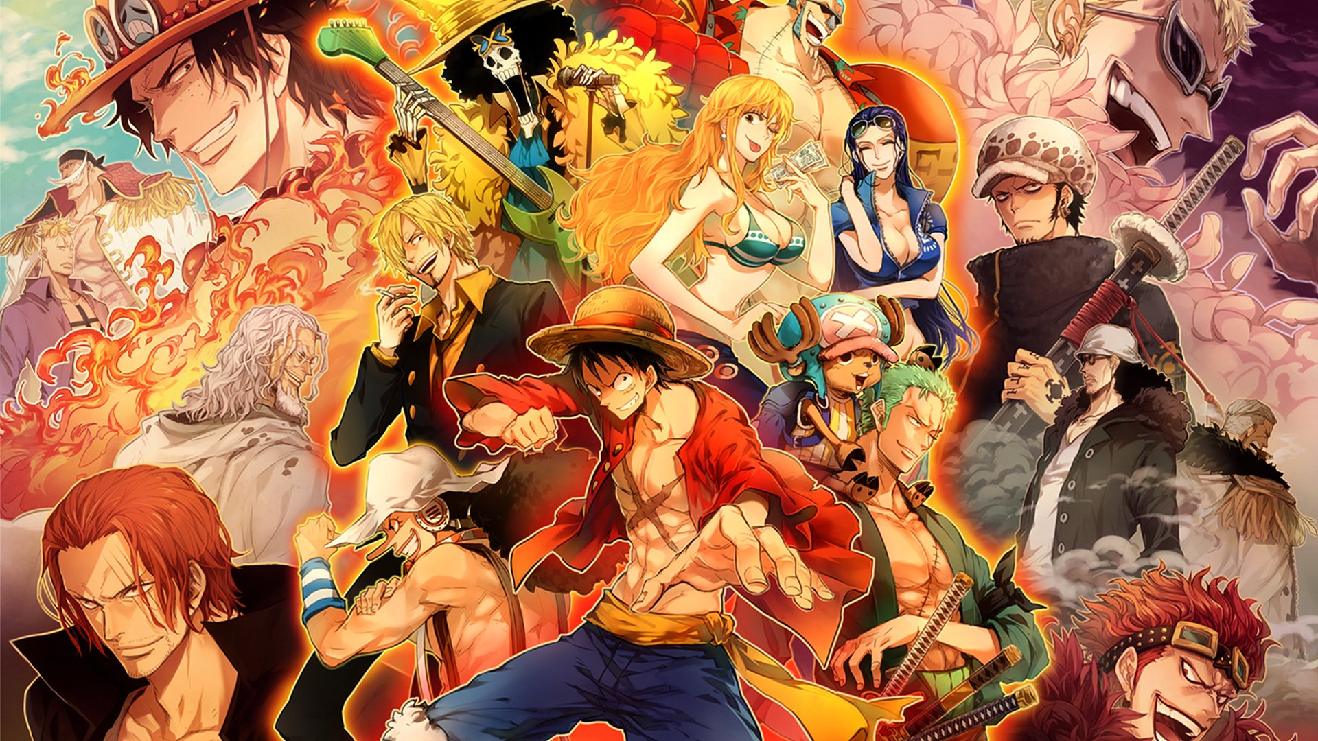 Anime - One Piece  Shanks (One Piece) Edward Newgate Portgas D. Ace Donquixote Doflamingo Trafalgar Law Usopp (One Piece) Monkey D. Luffy Zoro Roronoa Tony Tony Chopper Sanji (One Piece) Nico Robin Nami (One Piece) Brook (One Piece) Franky (One Piece) Wallpaper