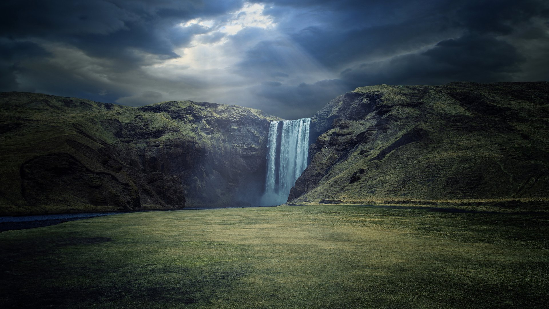 Earth - Skógafoss Waterfall  Waterfall Skogafoss Waterfall Earth Sky Cloud Dark Sunbeam Wallpaper
