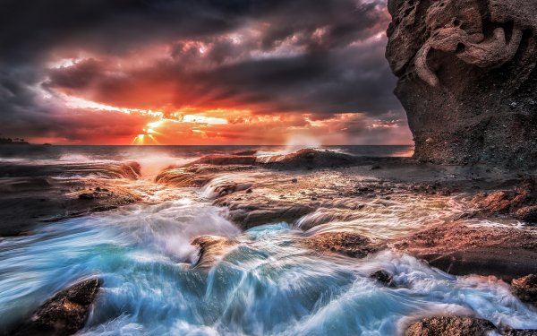 Earth Landscape Sea Sky Seascape Ocean Sunset Wave Cloud Beach Cliff Rock Shore HD Wallpaper | Background Image