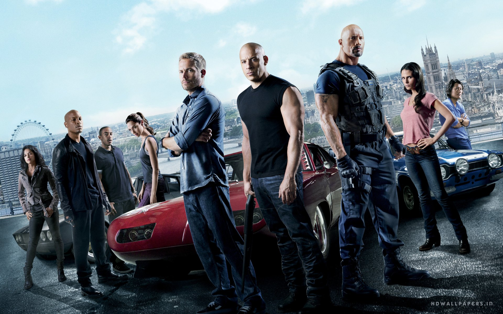 Movie - Fast & Furious 6  Fast & Furious Tej (Fast & Furious) Ludacris Gisele Harabo Gal Gadot Han (Fast & Furious) Sung Kang Roman Pearce Tyrese Gibson Mia Toretto Jordana Brewster Michelle Rodriguez Letty Ortiz Dwayne Johnson Luke Hobbs Vin Diesel Dominic Toretto Brian O'Conner Paul Walker Wallpaper
