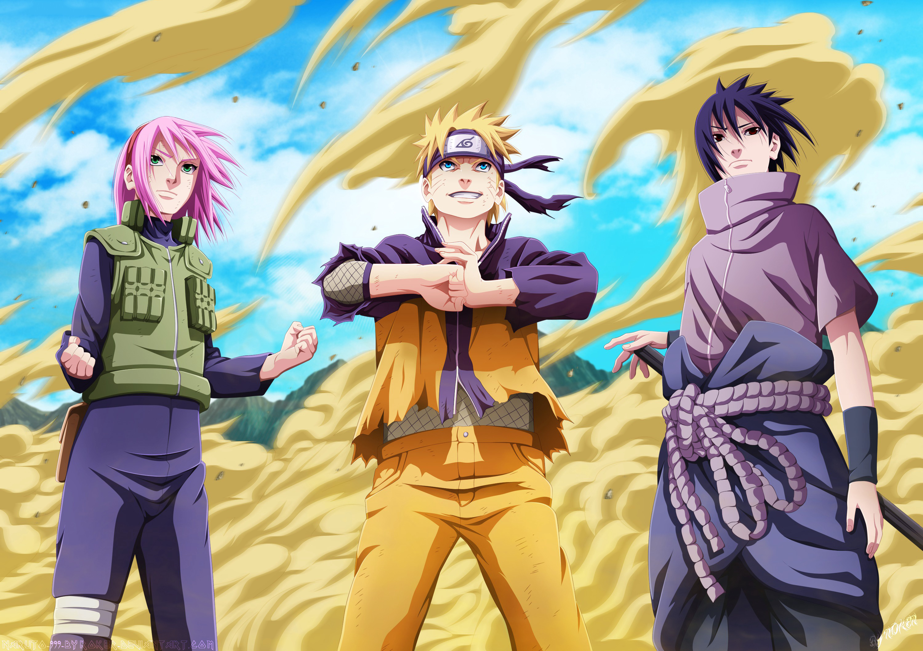 Sakura,Naruto And Sasuke (Day Version) Fondo De Pantalla
