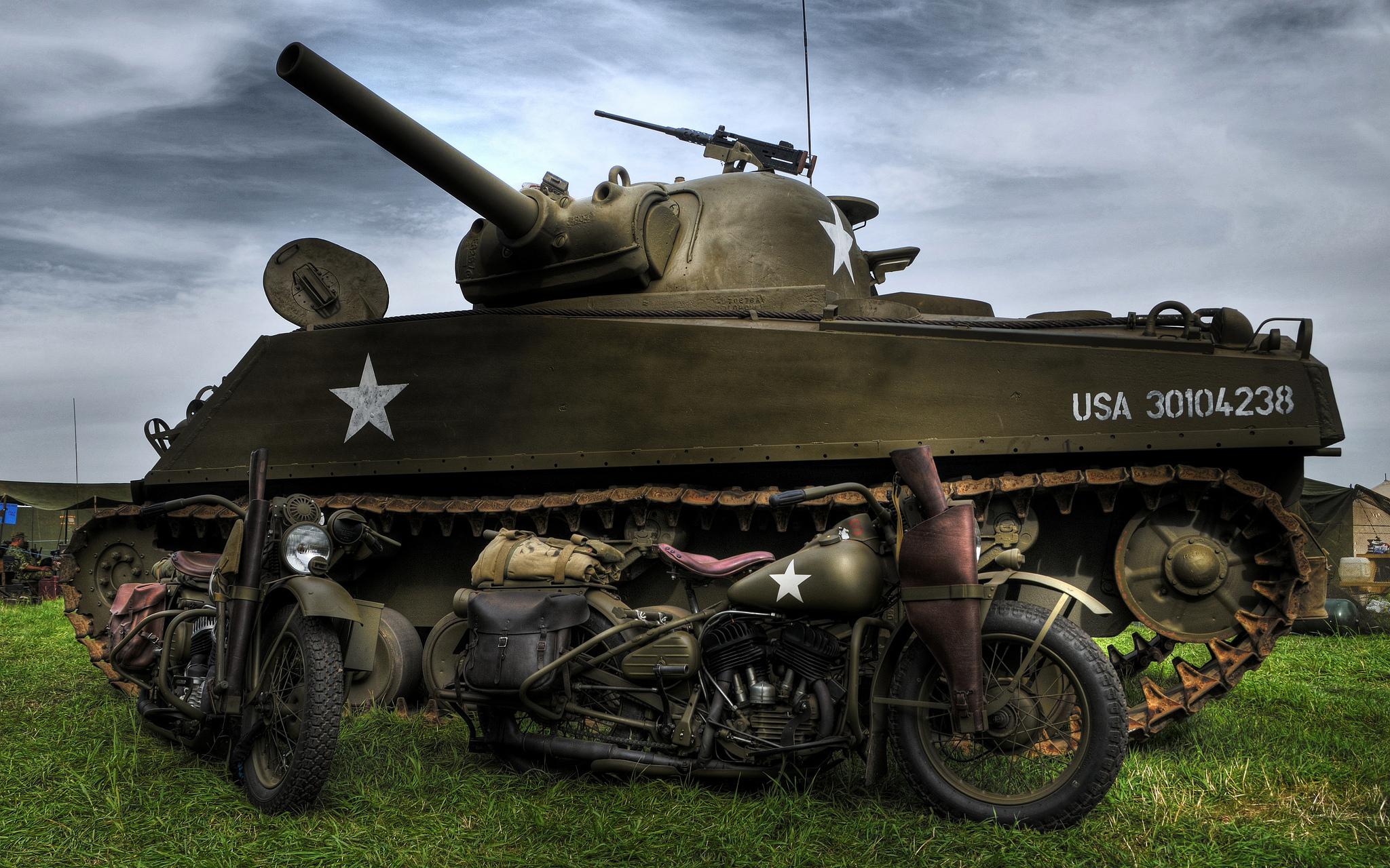 Custom Silk Photo Wallpaper Hd Military Tank Wall: M4 Sherman And Harley-Davidson WLA Motorcycles HD