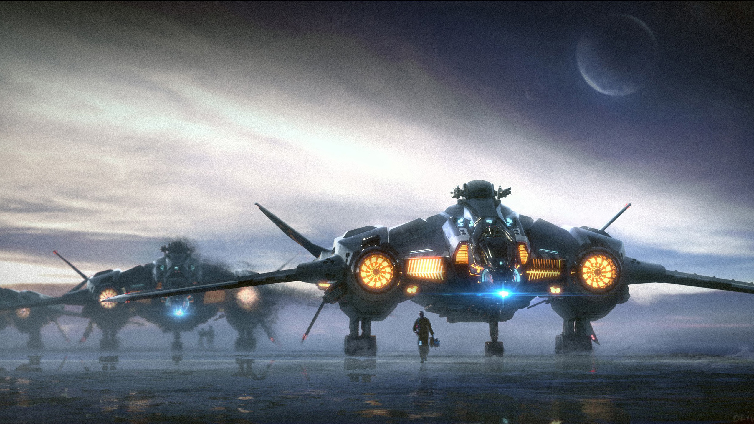 Cloud Planet Spaceship Star Citizen HD Wallpaper