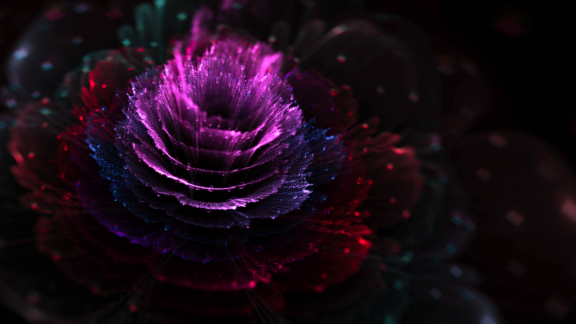 Abstract - Fractal  Purple Flower Artistic Wallpaper