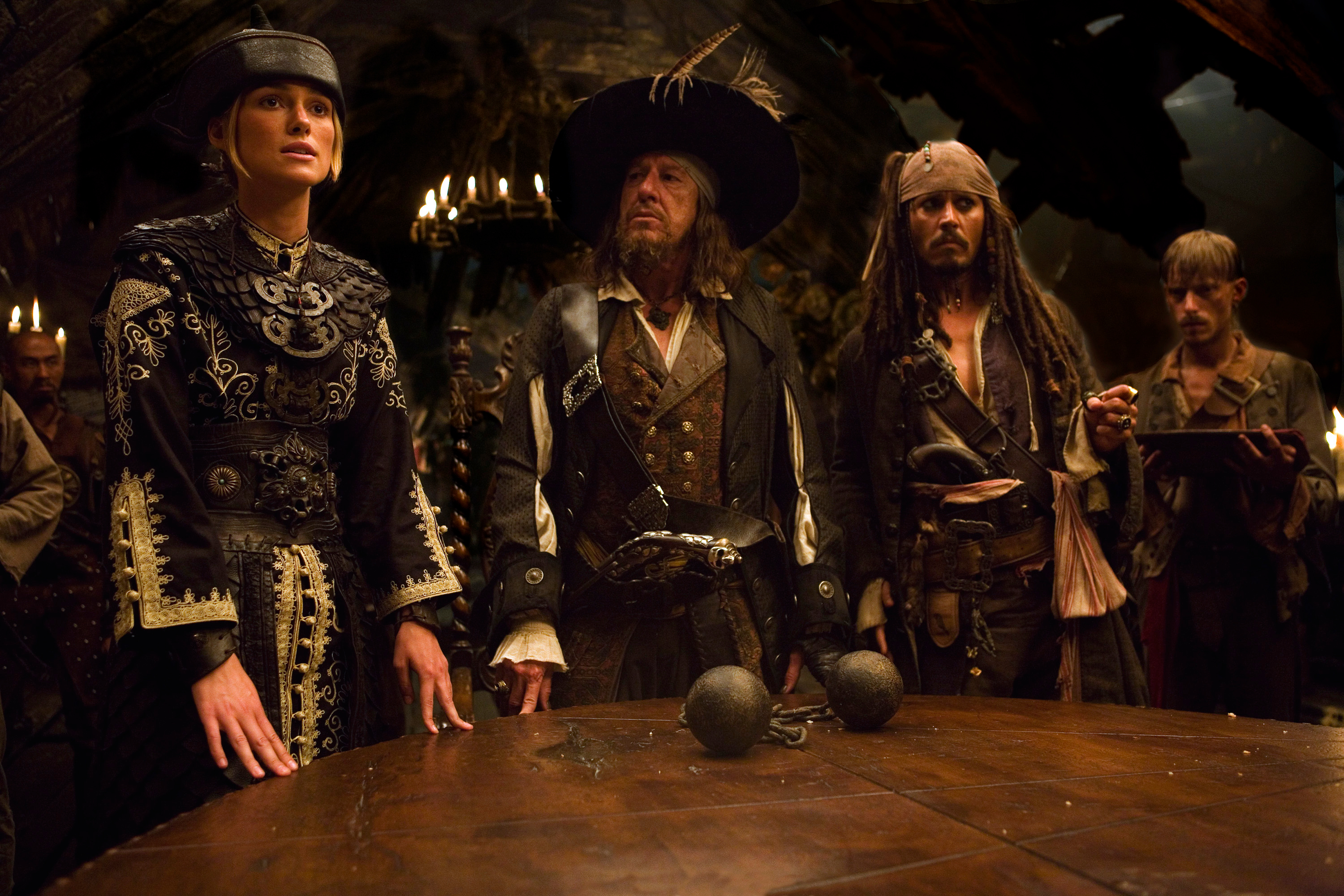 Movie Pirates Of The Caribbean: At World's End Johnny Depp Jack Sparrow Geoffrey Rush Captain ...