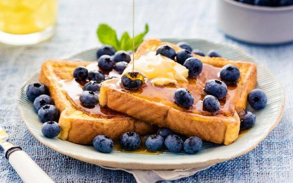 Alimento Desayuno Arándano Butter Syrup French Toast Fondo de pantalla HD | Fondo de Escritorio
