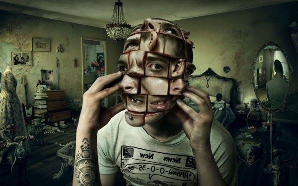 Dark Creepy Face Puzzle Head Room HD Wallpaper   Background Image