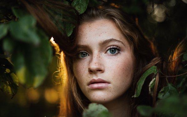Women Face Woman Model Brunette Blue Eyes Freckles HD Wallpaper | Background Image