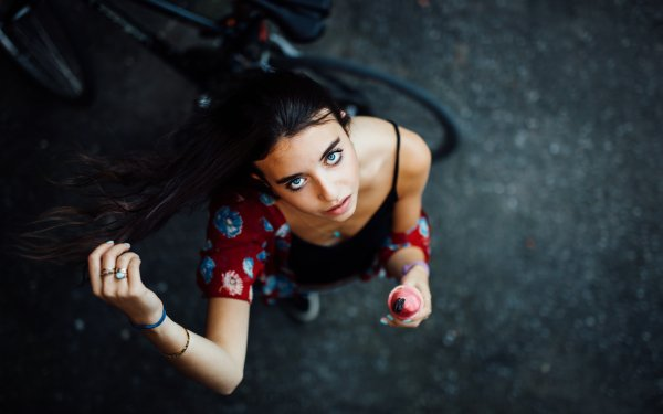 Women Model Models Woman Brunette Blue Eyes Jewelry HD Wallpaper | Background Image