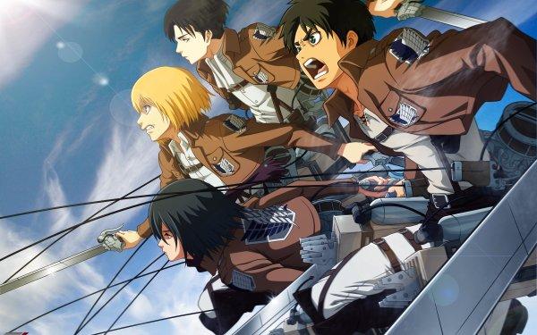 Anime Attack On Titan Eren Yeager Mikasa Ackerman Armin Arlert Levi Ackerman HD Wallpaper | Hintergrund