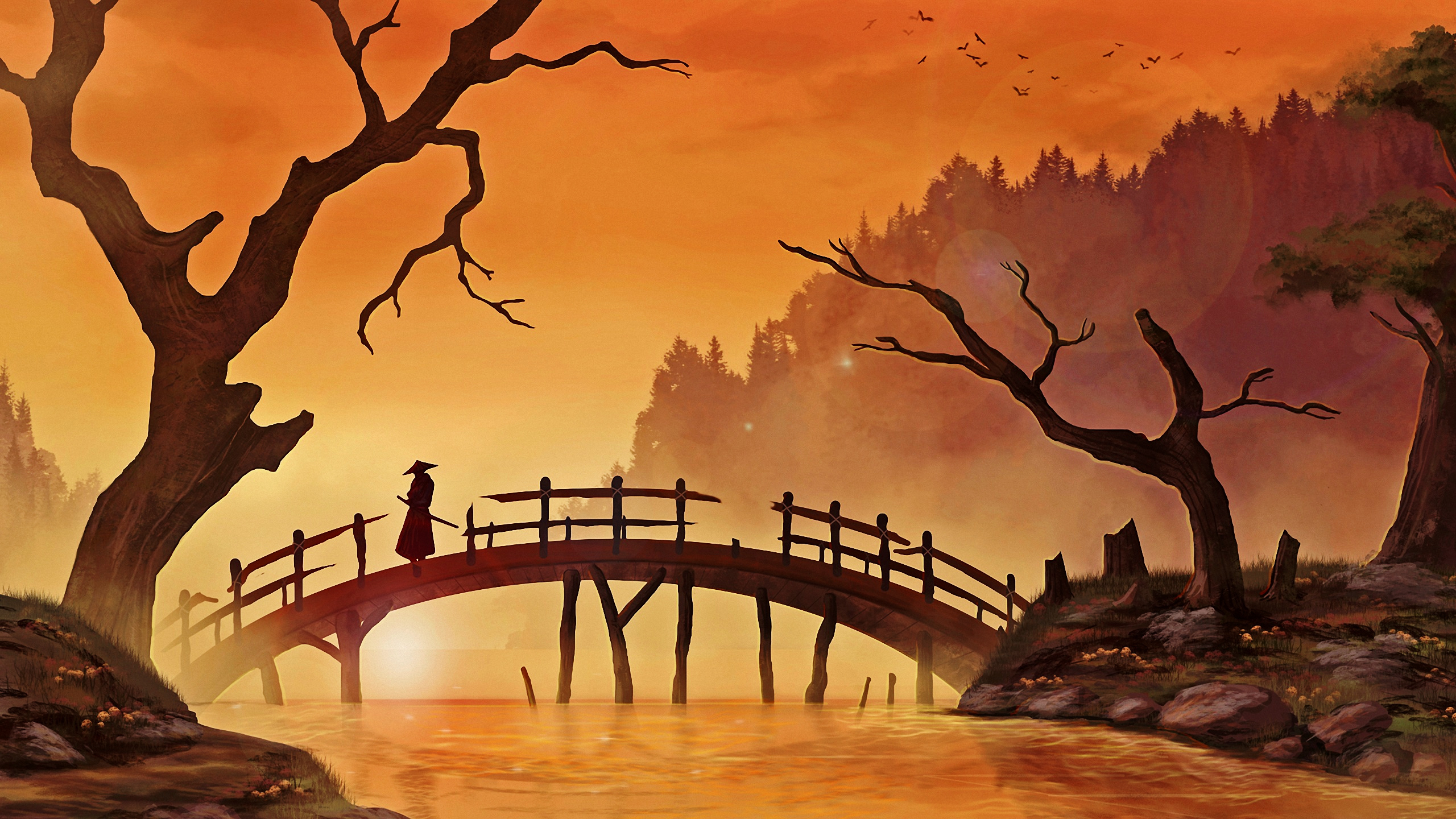 Chinese Painting Of  Dead Trees And Red Sun