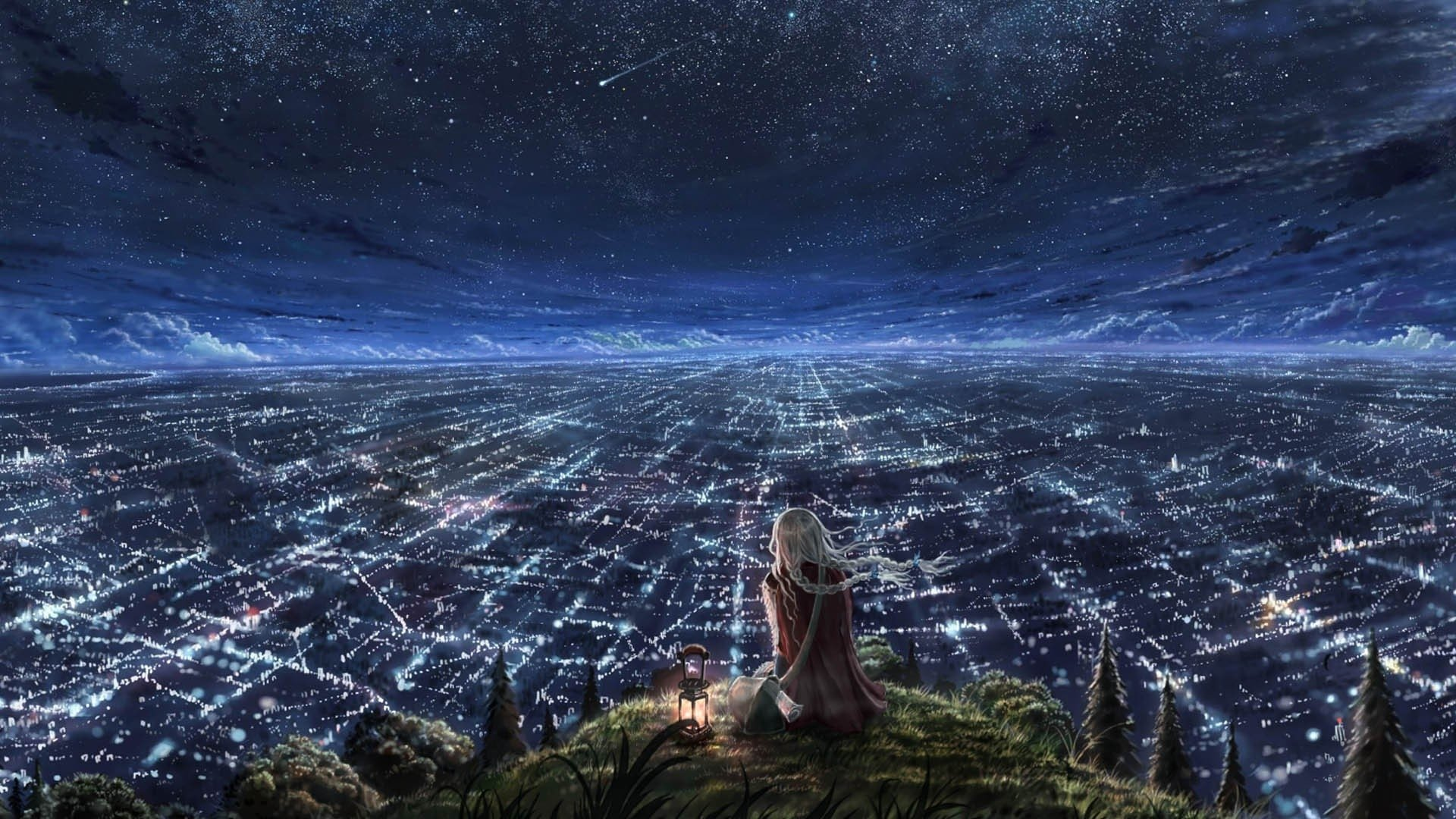 Fantasy - Landscape  Star Light Horizon Anime Fantasy Girl City Night Cityscape Braid Wallpaper
