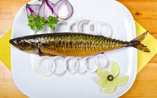 Food Fish Onion Lemon HD Wallpaper | Background Image