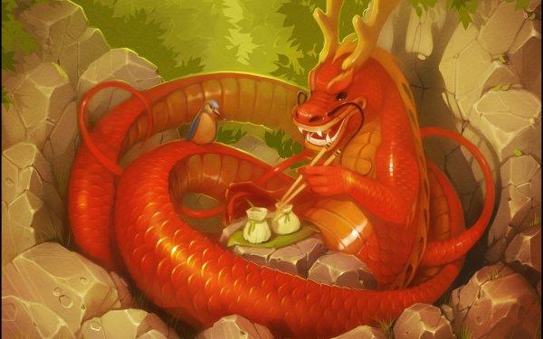 Fantaisie Chinese Dragon Dragon Oiseau Fond d'écran HD | Arrière-Plan