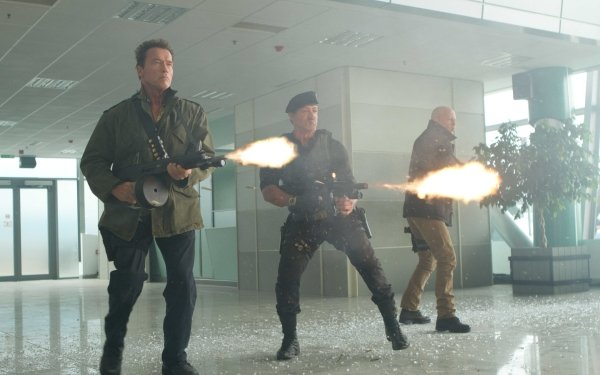 Movie The Expendables 2 The Expendables Barney Ross Sylvester Stallone Arnold Schwarzenegger Trench Bruce Willis Church HD Wallpaper | Background Image