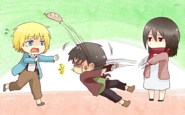 Anime Ataque a los titanes Attack On Titan Chibi Mikasa Ackerman Armin Arlert Eren Yeager Fondo de pantalla HD | Fondo de Escritorio