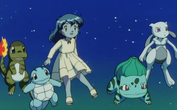 Anime Pokémon The Movie: Mewtwo Strikes Back Pokémon Charmander Squirtle Bulbasaur Mewtwo Starter Pokemon Ambertwo Fondo de pantalla HD | Fondo de Escritorio