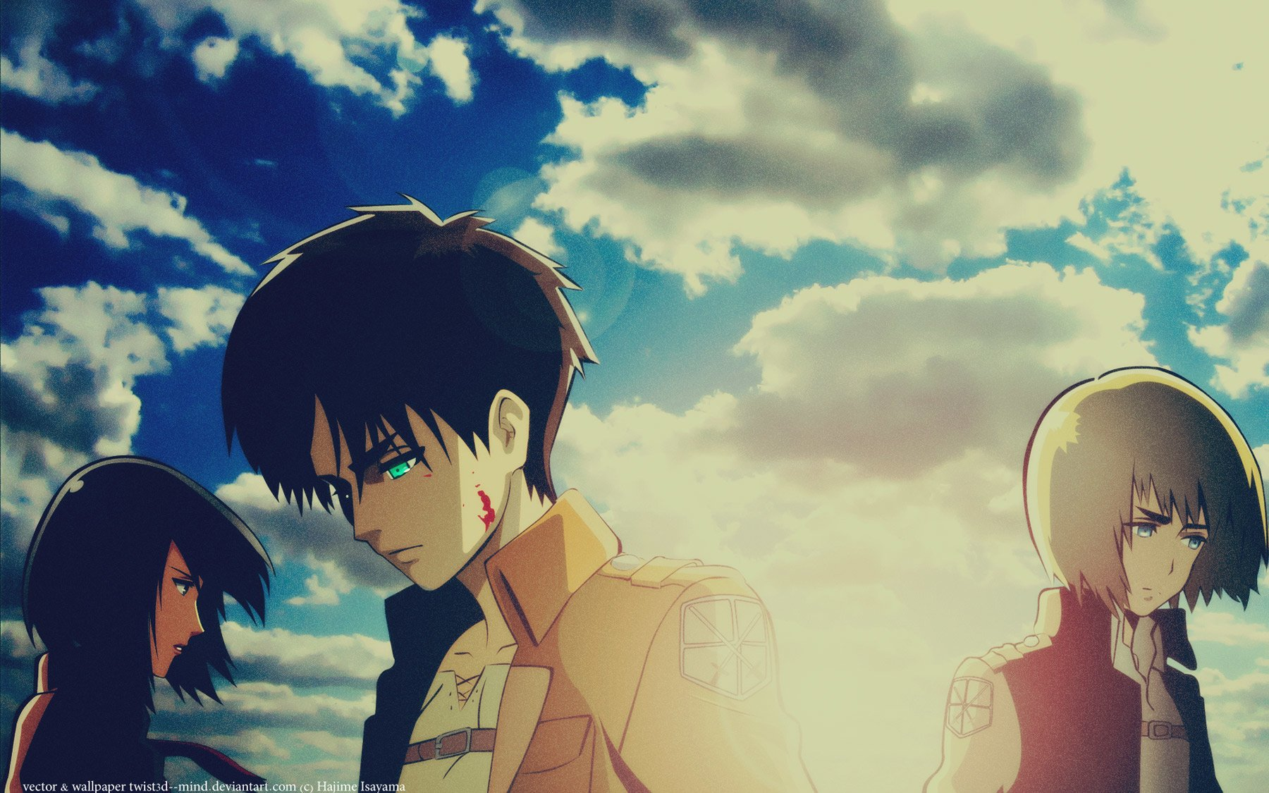 Eren Mikasa And Armin Wallpaper And Background Image 1800x1125 Id 669412 Wallpaper Abyss
