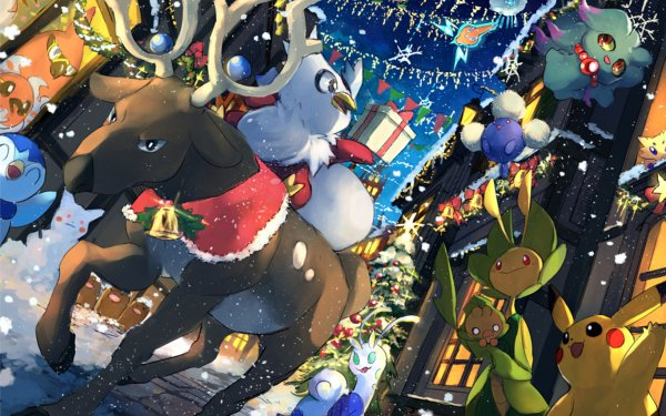 Anime Pokémon Pikachu Misdreavus Joltik Jumpluff Rotom Altaria Delibird Stantler Ferrothorn Fletchling Fletchinder Talonflame Piplup HD Wallpaper | Background Image
