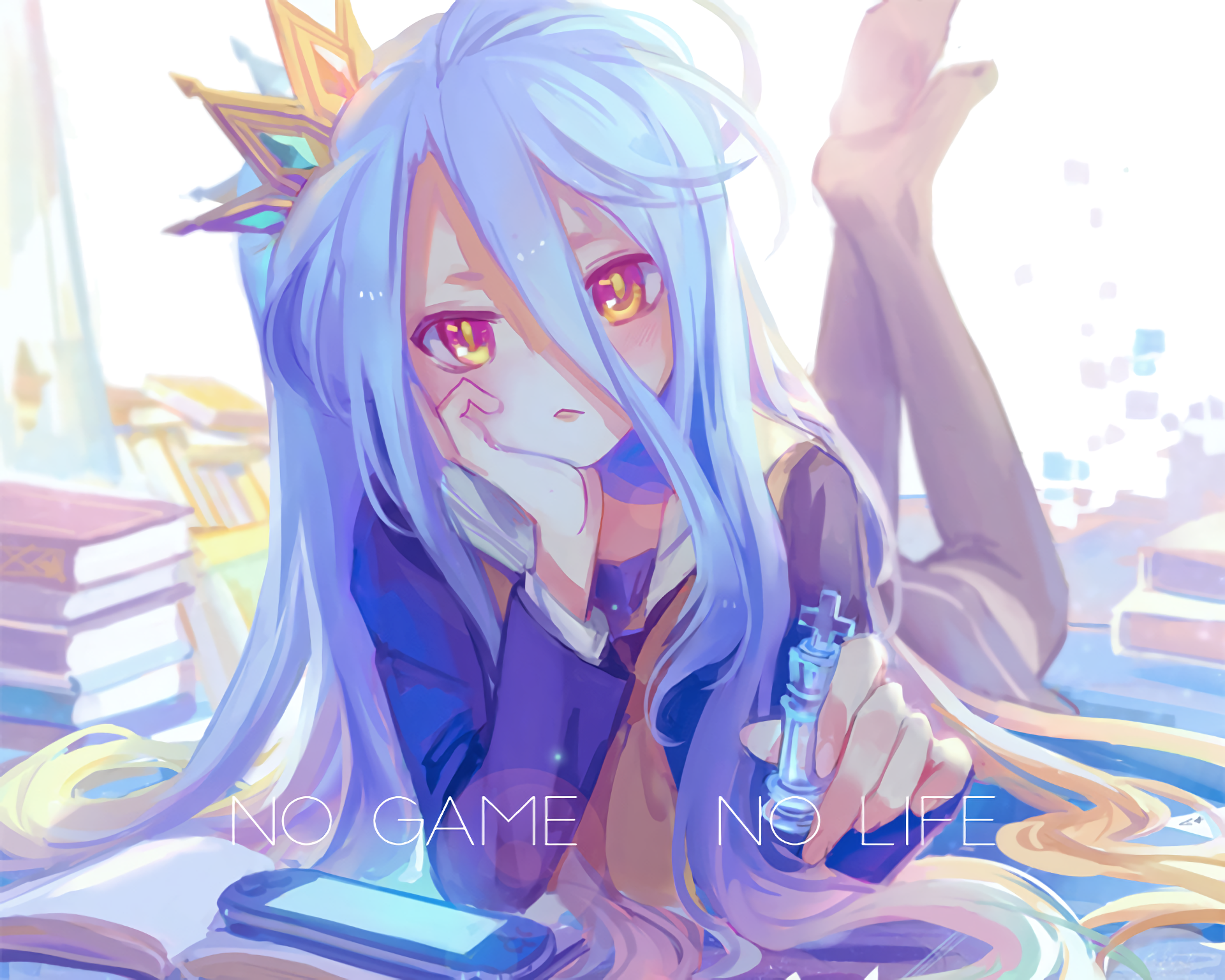动漫 - 游戏人生  Long Hair Blue Hair Orange Eyes 书 Pantyhose Crown 动漫 Shiro (No Game No Life) Blush 壁纸