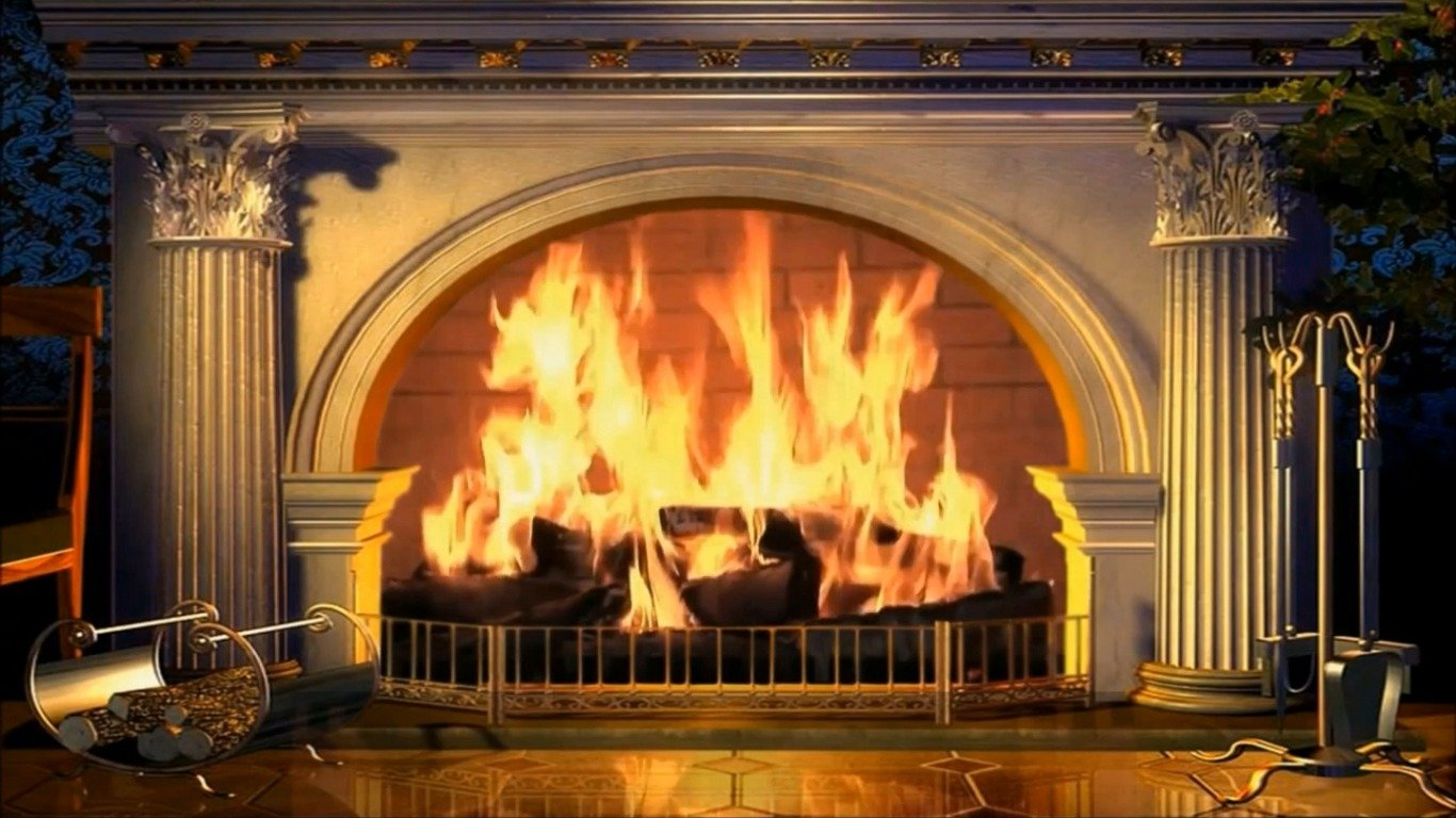flaming fireplace wallpaper - photo #7