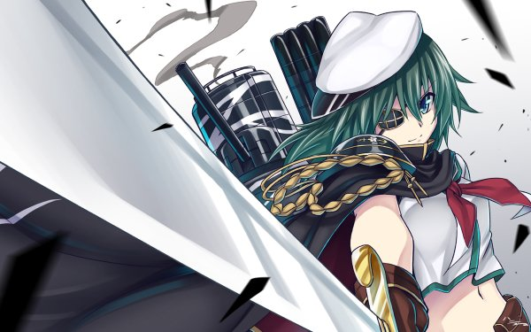 Anime Kantai Collection Girl Long Hair Green Hair Green Eyes Eye Patch Sword Hat Warrior Kiso HD Wallpaper | Background Image