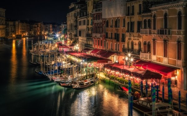 Man Made Venice Cities Italy Evening Night Gondola Town Building Canal Boat HD Wallpaper | Background Image