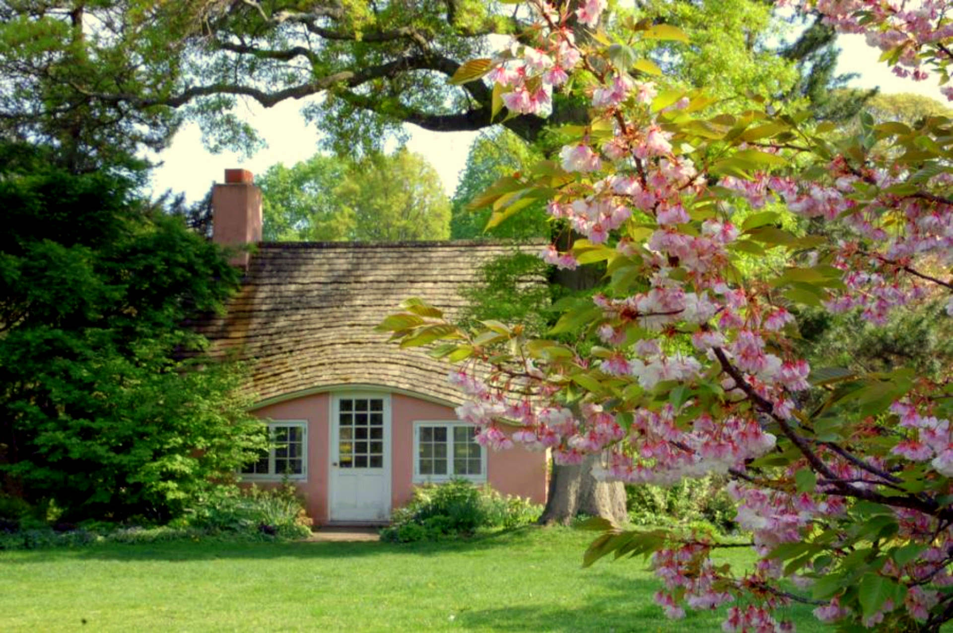 Pink Cottage Full HD Fond D 39 Cran And Arri Re Plan