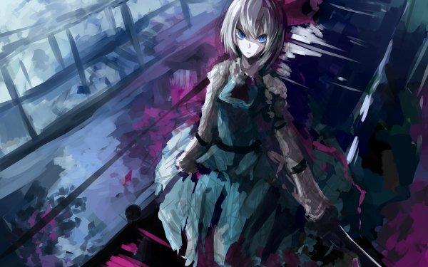 Anime Touhou Katana Youmu Konpaku Blue Eyes Short Hair White Hair HD Wallpaper   Background Image