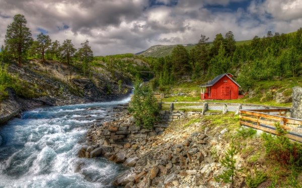 Man Made House Buildings River Norway Tree Landscape Rock HD Wallpaper   Background Image