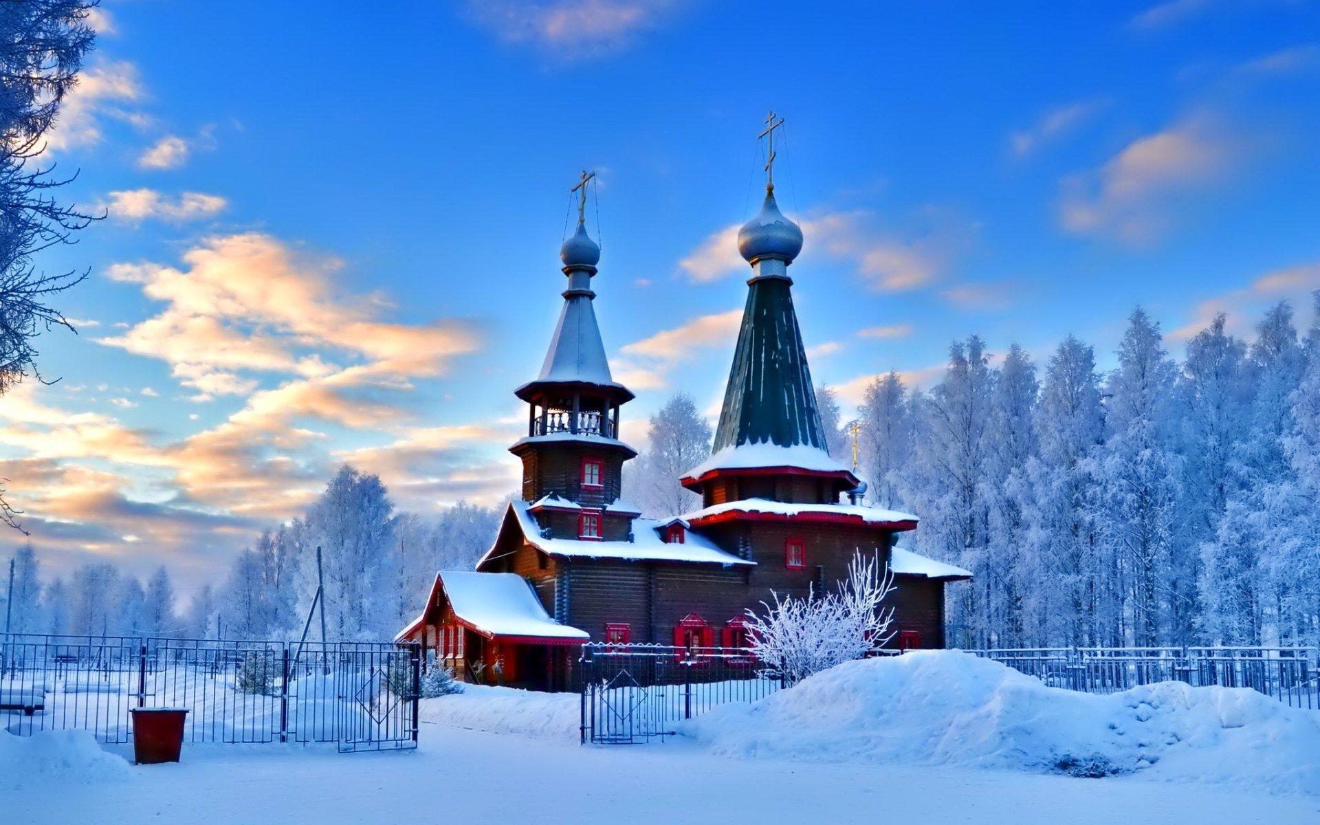 Russian Church In Winter Fondo De Pantalla Hd Fondo De