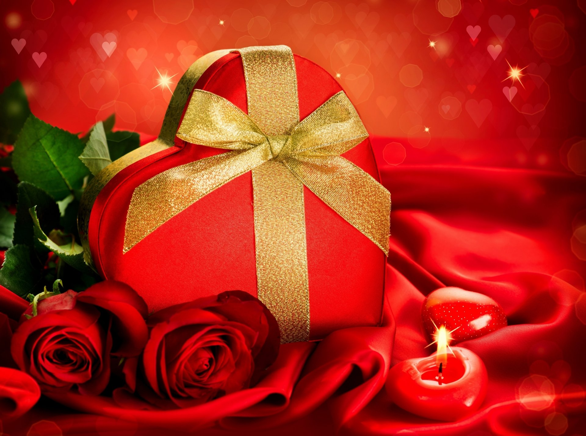 Holiday - Valentine's Day  Holiday Heart Red Box Gold Ribbon Candle Rose Wallpaper