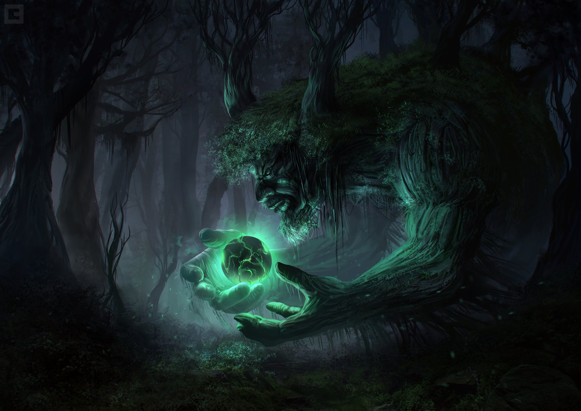 Fantasy - Creature  Dark Forest Green Fantasy Magic Giant Ogre Wallpaper