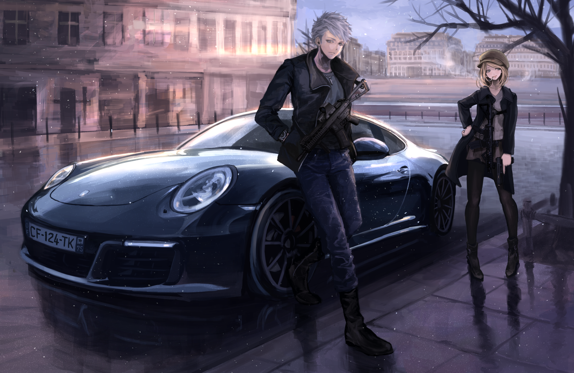 Anime - Original  Original (Anime) Anime Boy Girl Short Hair Blonde White Hair Car Gun Weapon Pantyhose Wallpaper