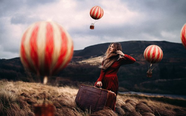 Women Mood Suitcase Woman Outdoor Hot Air Balloon Landscape Red Dress HD Wallpaper | Background Image