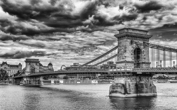 Man Made Chain Bridge Bridges Budapest Hungary Black & White Bridge Cloud HD Wallpaper | Background Image