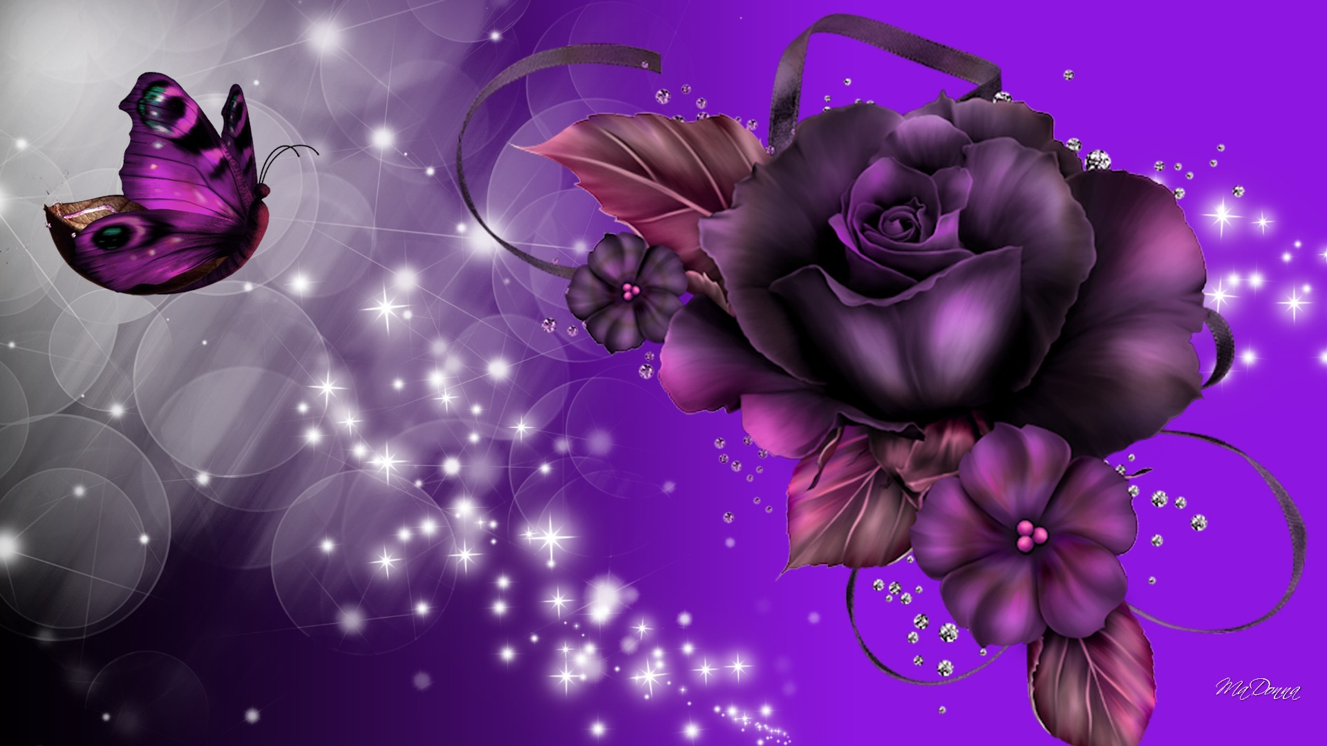 Purple Rose And Butterfly Hd Wallpaper Background Image