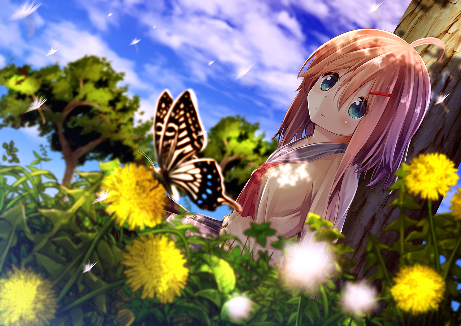 Girl And Butterfly Wallpaper Background Image